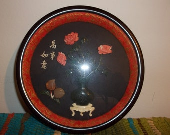 Vintage Jade & Coral Asian Style Wall Art Free Shipping