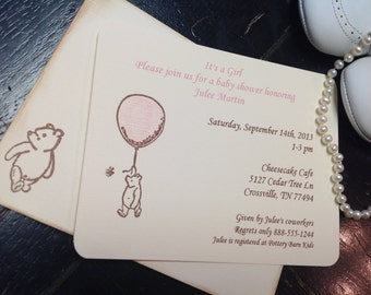 Winnie the Pooh Invitation-Pooh Baby shower invitation-Pooh with balloon-Pooh stationery