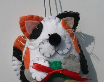 Felt Cat Ornament - Calico Cat