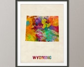 Wyoming Watercolor Map USA, Art Print (408)