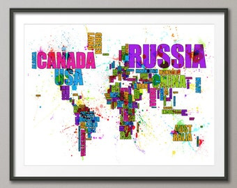 Typography Map of the World Map Paint Splashes, Art Print (751)