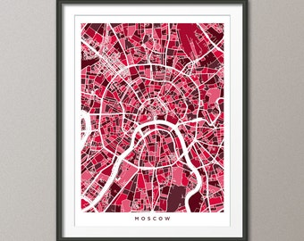 Moscow Street Map, Russia, Art Print (498)