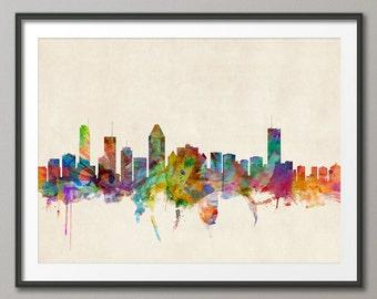 Montreal Skyline, Montreal Canada Cityscape Art Print (502)