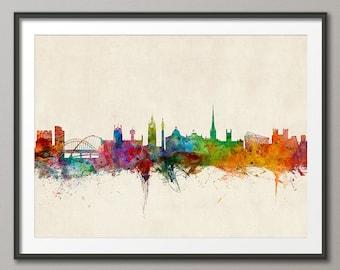 Newcastle Skyline, Newcastle England Cityscape Art Print (990)