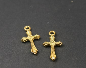 1 Cross Charm, 22 x 11 mm Gold Plated Tone, sc475