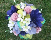 Custom order for Helene D. second payment-- purple, green, pink custom wedding bouquet and boutonniere
