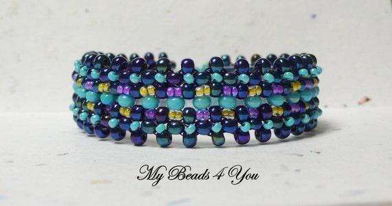 Beadwork Bracelet, Beaded Bracelet, Beaded Turquoise Bracelet, Beadwoven Bracelet, Beaded Cuff Bracelet, Seed Bead Bracelet