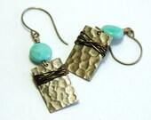 African Opal Earrings, Hammered Brass, Dangle earrings, Wire Wrap, Aqua Green, Semiprecious, Gift for her, Jewelry