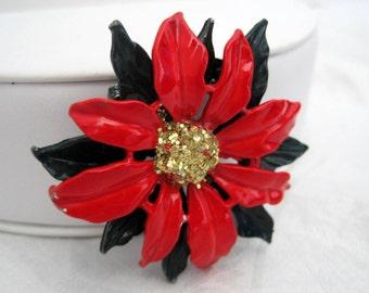 Poinsettia Brooch Christmas Red  Enamel Pin