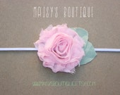 75% Off Baby Pink Shabby Flower Headband/ Newborn Headband/ Baby Headband/ Flower Girl/ Wedding/ Photo Prop