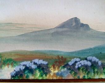 1920s Vintage Art OOAK Painting Vintage Landscape Painting Vintage Watercolor Painting of a Mountain & Woodland