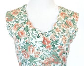 80s Vintage Romper in White, Peach, Green, Floral Print