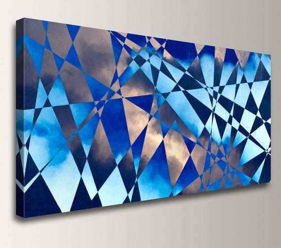 "Geometric Painting - Cobalt Blue - Canvas Print Panorama - Triangle Shapes and Clouds - Modern Wall Decor  - ""Cloudburst"""