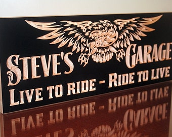 Custom Man Cave Sign, Gift For Him, Motorcycle Sign, Biker Sign, Rustic Man Cave Sign, Man Cave Sign, Benchmark Signs Maple LR