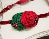 Christmas Rosette headband, holiday headbands, newborn headbands, red headbands, red and green headbands, photography prop