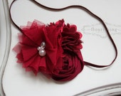 Burgundy Flower Headband, newborn headbands, back to basics headbands, burgundy headbands, photography prop
