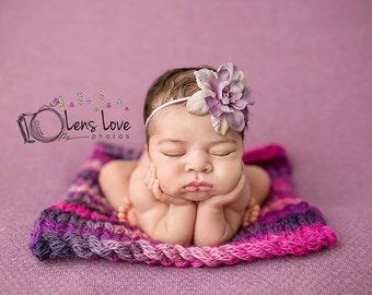 Purple Flower headband, baby headband, girls headband, newborn headband, photography prop