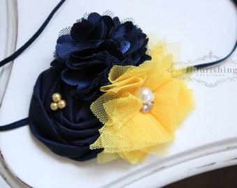 Game Day- WVU Inspired headband, Navy and Yellow headbands, blue headbands, newborn headband, West Virginia University