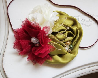 Olive, Burgundy and Ivory headband, holiday headbands, fall headbands, newborn headbands, photography prop