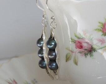 Pea Pod Pearl Earrings, Pearl Earrings, gifts for women, anniversary gift, bridal earrings