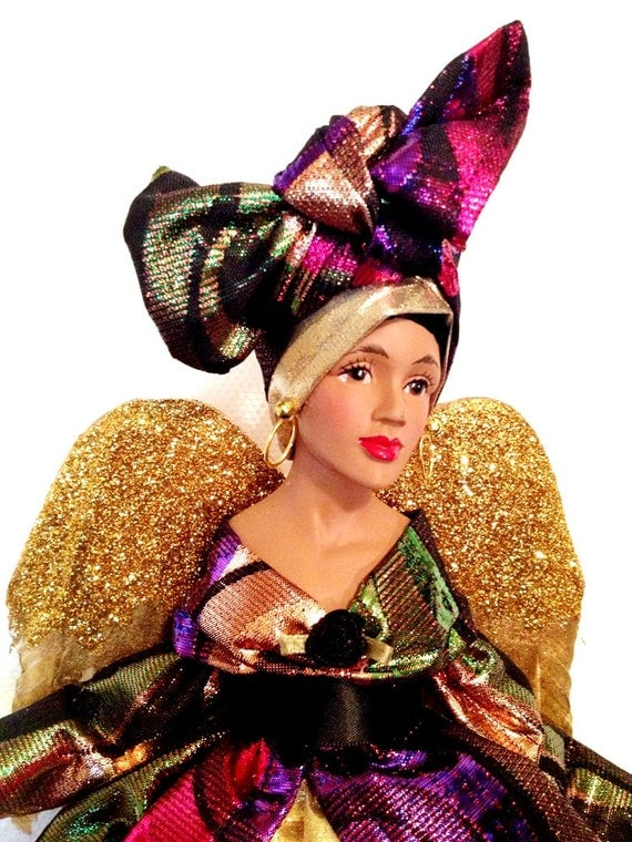 Afrocentric Christmas Angel African American Tree Topper