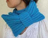 Bright Blue Bow Infinity Scarf, Chunky Neck Warmer / Cowl, crocheted, handmade, Women's Accessory