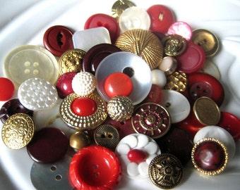 Golden Crimson Vintage Button Collection - 50 unique buttons