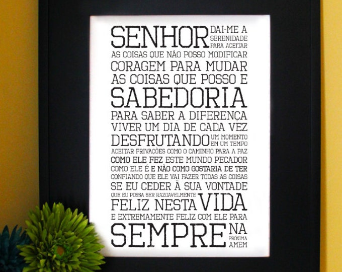 Oração da Serenidade. Serenity Prayer in Portuguese. The AA promises. Recovery motivational gift, Inspirational Quote. Subway Art. Unframed