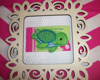 Turtle Hair Clip - Girls Boutique Style Felt Embroidery Turtle Hair Snap Clippie - Green - Barrette