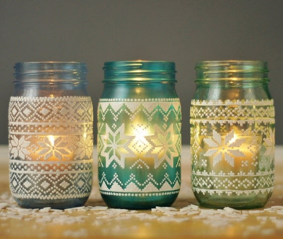 items similar to holiday sweater mason jar candle holders hand painted glass in blues and. Black Bedroom Furniture Sets. Home Design Ideas