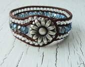 Leather Wrap Cuff Bracelet, Blue Sapphire Cuff, Daisy Wrist Cuff, Leather Wrap Bracelet, Cowgirl Cuff, Country Western Jewelry, Bohemian