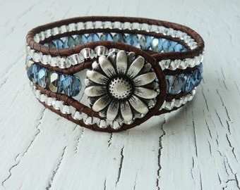 Leather Wrap Cuff Bracelet, Blue Sapphire Cuff, Daisy Wrist Cuff, Leather Wrap Bracelet, Cowgirl Cuff, Country Western Jewelry, Bohemian