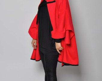 Red Cashmere Cape Coat 100%Wool Extravagant Cape Coat Maxi Red Cape Cloak Autumn Winter Cape Coat  Woman Cashmere Extravagant  Cape gabyga