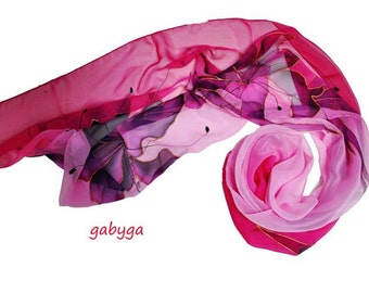 Hand painted scarf/100%Silk Chiffon/Rose flowers/Painted floral scarf/Woman silk scarf/Woman accessory/Rose scarf painted by Gabyga/S0015