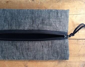 Grey Linen Pencil Case, Pencil Pouch, School Pencil Case, Back to School