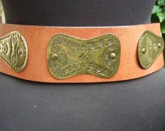 RALPH LAUREN Womens Brown Leather & Brass Vintage Belt