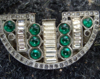 ART DECO Jeweled Fur Clip c 1940