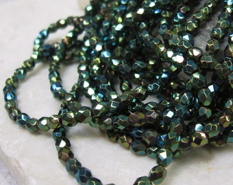 Vintage  4mm Czech Glass Facet Beads in Green Iris.  3 dz.