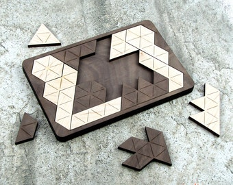 Unique Geometric Wood Puzzle - 14 Pieces Laser Cut from Walnut and Maple - Very Hard
