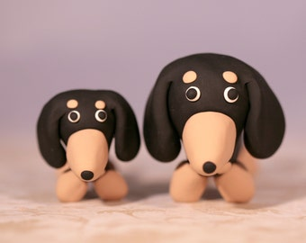 Dachshund Wiener Dog Cake Topper Parent and Baby