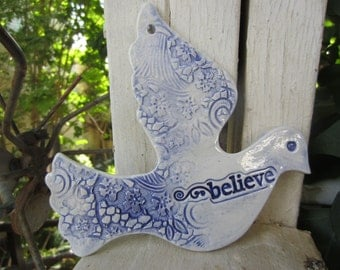 Blue and White Ceramic Believe Dove Holidays Ornament Christmas Decor Holiday Gift