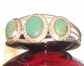 Kingsman Turquoise & Silver Signed Native Indian Bracelet Cuff