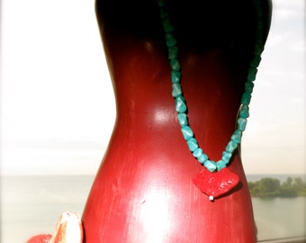 Vintage Turquoise With Carved Cinnabar Red Pendant