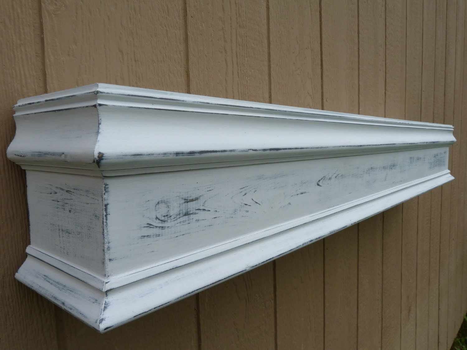 48l white fireplace mantel shelf floating by rusticprairiecottage