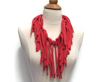 Womens Shredded Fringe Coral Salmon Pink Upcycled Infinity Tshirt Scarf /Necklace