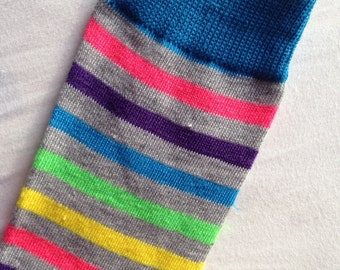 Grey Rainbow Stripe Baby Legs/ Leg Warmers