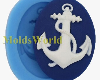 A385 Anchor Cabochon Polymer Clay Silicon Mold Flexible Silicone Mould Crafts 40x30mm