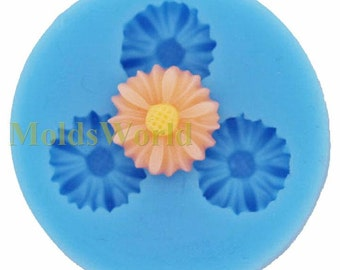 A073 Chrysanthemum Cabochon 3 Cavity Flexible Silicone Mold Mould for Crafts, Jewelry, Scrapbooking,  (resin, Utee, pmc, polymer clay)