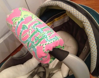 Carseat handle cover made with Lilly Pulitzer Fabric