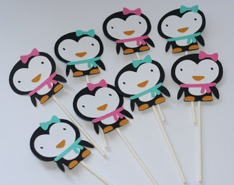 Penguin Cupcake Toppers, Winter Onederland Cupcake Toppers, Penguin Birthday Decorations, Penguin Birthday, Girly Penguin Cupcake Toppers